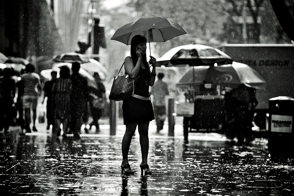 A Beautiful women in the Rain