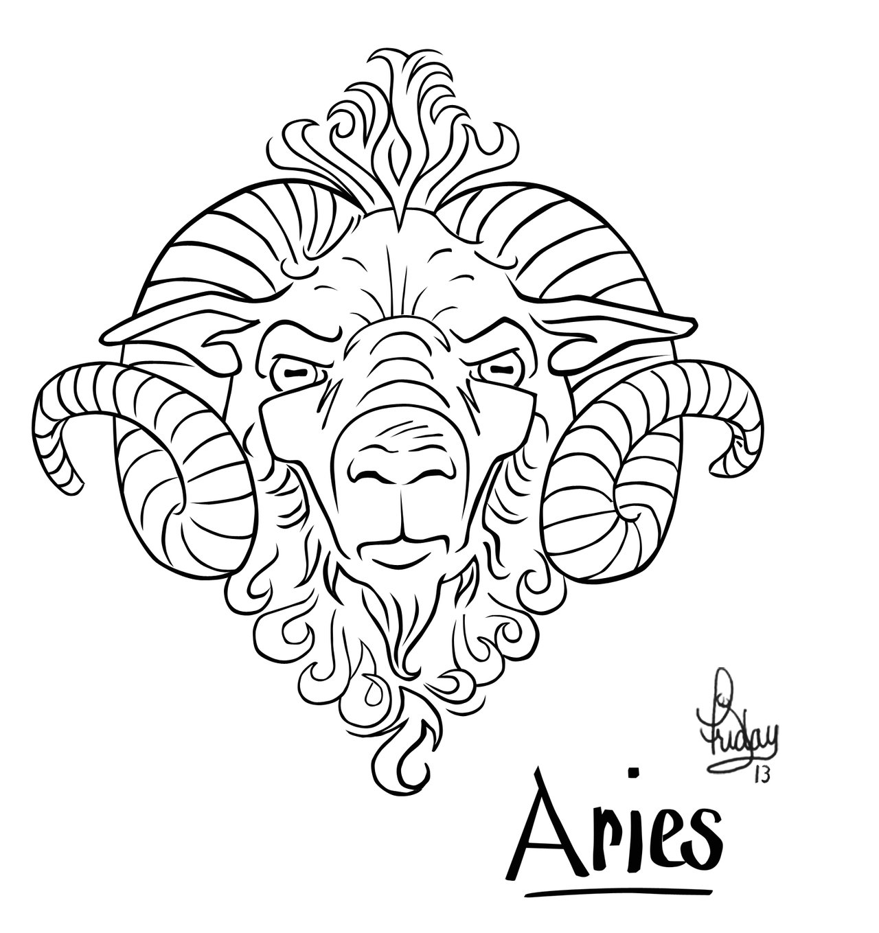 Aries Ram Tattoo Design
