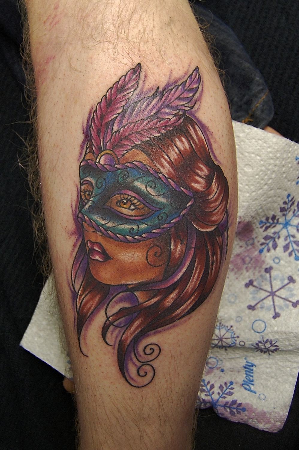 Masked lady tattoo design