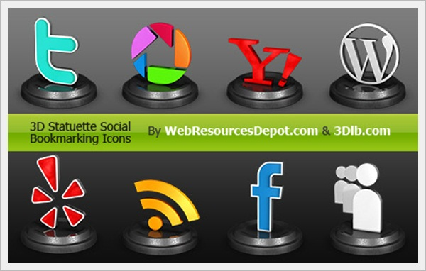 3D Statuette Icon Set