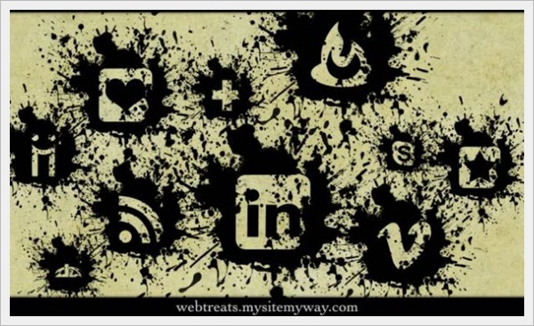 Black Paint Splatter Icon Set