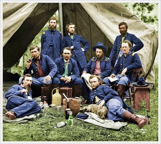 (COLORIZED) Lt. Custer and Union Troops (1862)