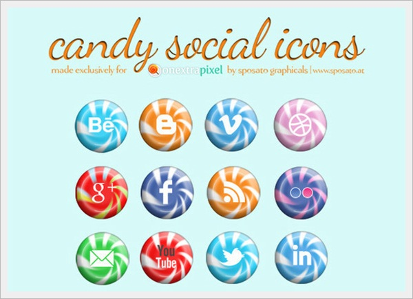Candy Social Media Icons by One Extra Pixel