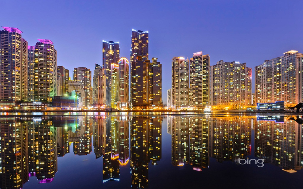 Skyline of Marine City in Busan, South Korea