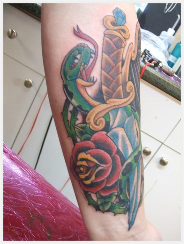 Dagger, Snake, and Rose tattoo