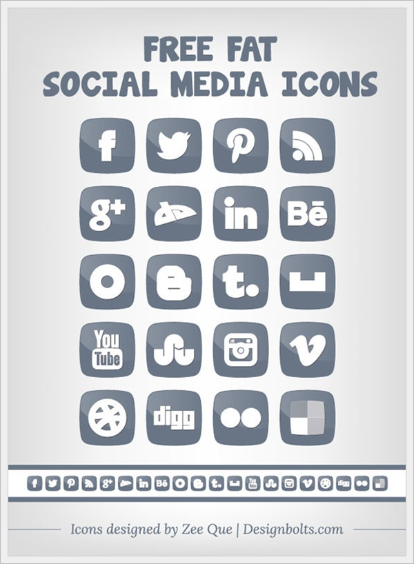Free Fat Social Media Icons by Zee Que