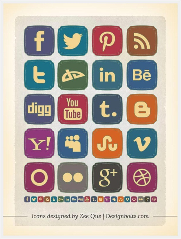 Free Rough Old Style Retro Social Media Icons by Zee Que