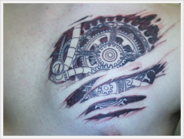Gear Heart Tattoo -Photo-