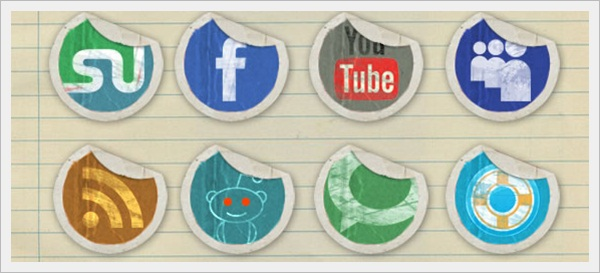 Grunge Peeling Stickers Icon Set