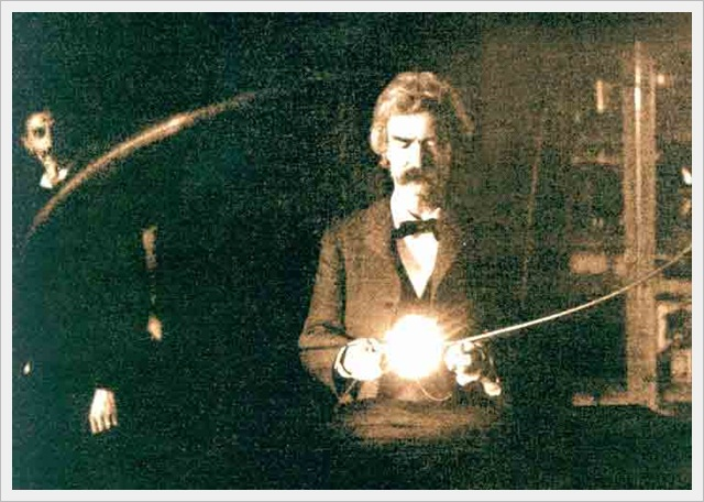 Mark Twain inside the laboratory of Nikola Tesla (1894)