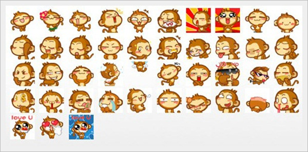 Monkey Emoticons Set
