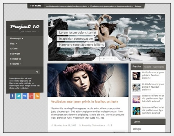 Project 10 Blogger Template (Free)
