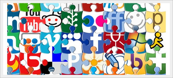 Puzzle Social Network Icon Set