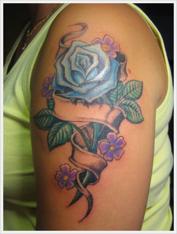 Rose and band tattoo