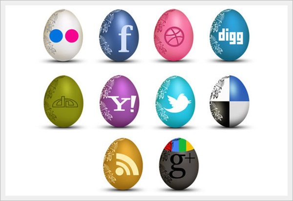 Set of Egg-Shaped Social Icons