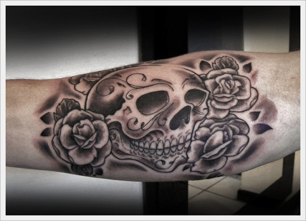 Sugar Skull and Rose Tattoo