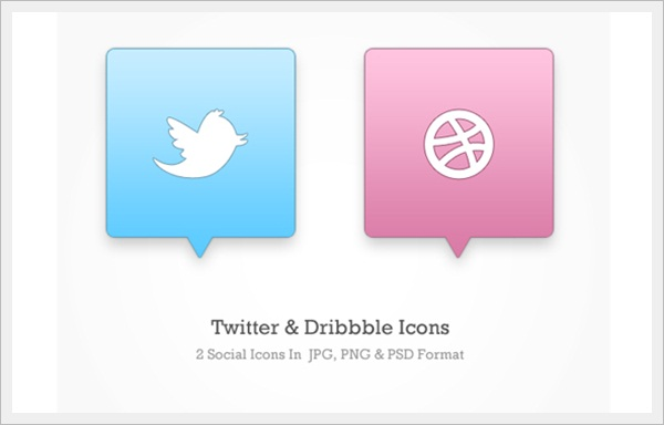 Twitter & Dribbble Icons (PSD)
