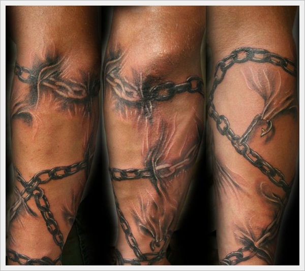 chains forearm sleeve tat