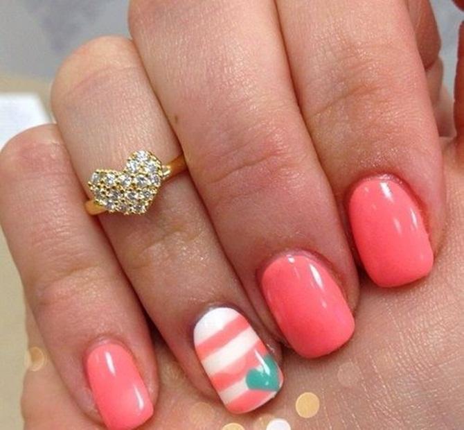 Дизайн на коралловых ногтях