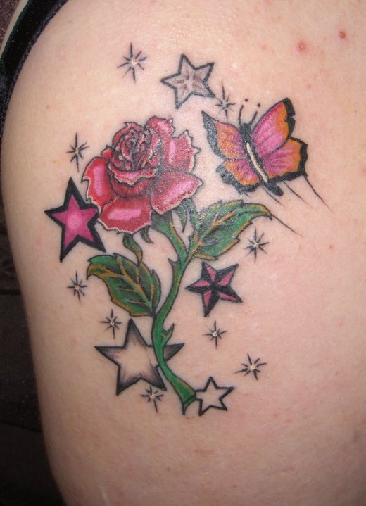 Butterfly Rose Tattoo Designs
