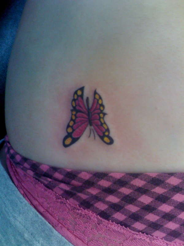 Pink Flower with Butterfly Tattoo