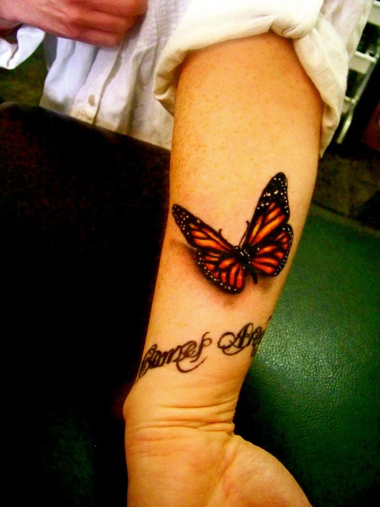 3d hand butterfly tattoo