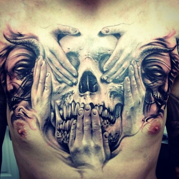 Amazing Chest 3D Tattoo for Men