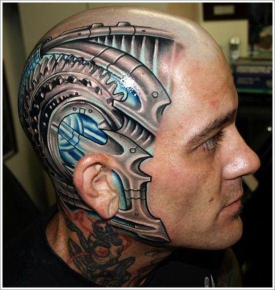Amazing Head Tattoo for Men