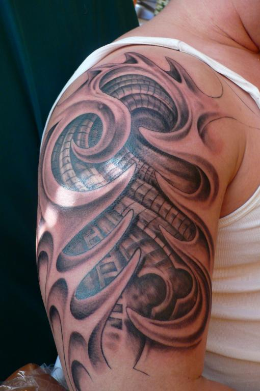 Biotech and Tribal 3D Tattoo