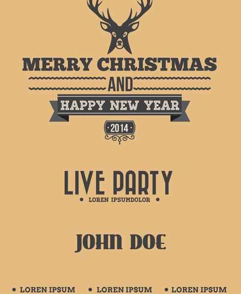 Free Reindeer Christmas PSD Flyer Template
