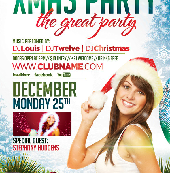 Free Xmas Party Flyer Template and Facebook Timeline Cover