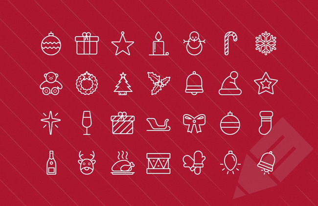 Outlined vector Christmas icons
