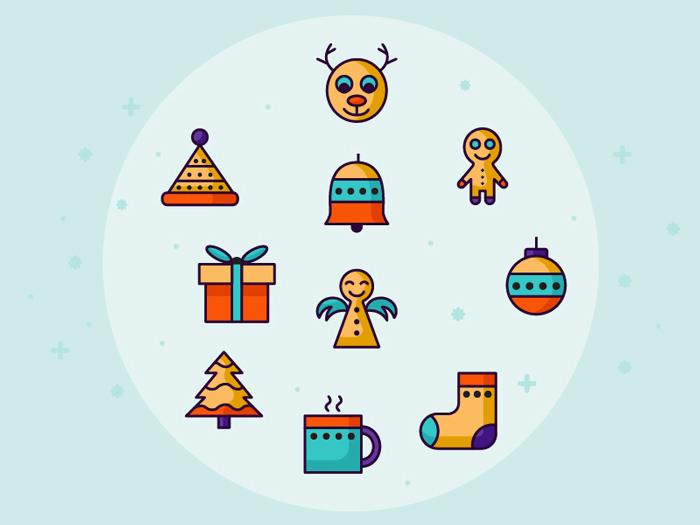 10 Christmas Set Icons 2015