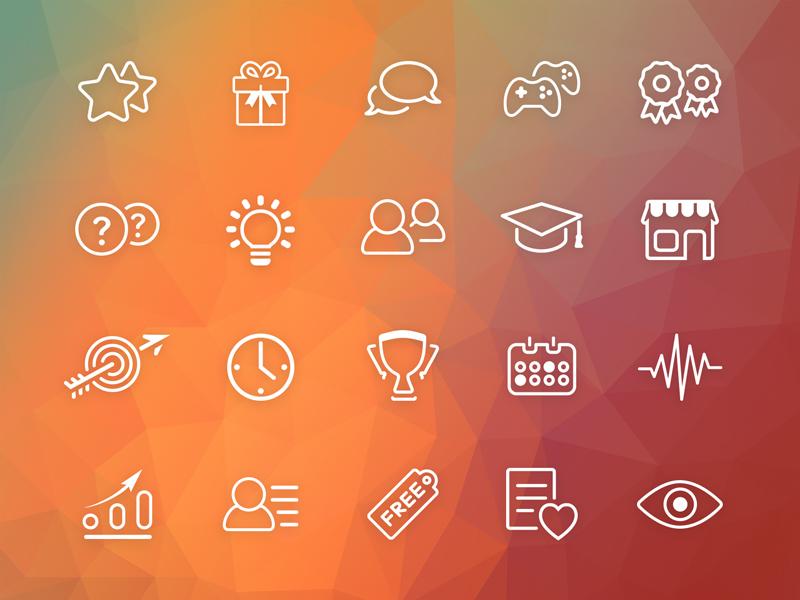 Gamification Christmas icons Set